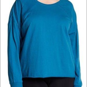 Zella Z By Zella Teal Raw Hem Sweatshirt Size3X